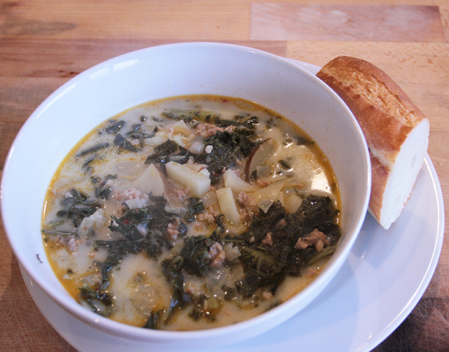 SPICY SAUSAGE, KALE, AND POTATO SOUP