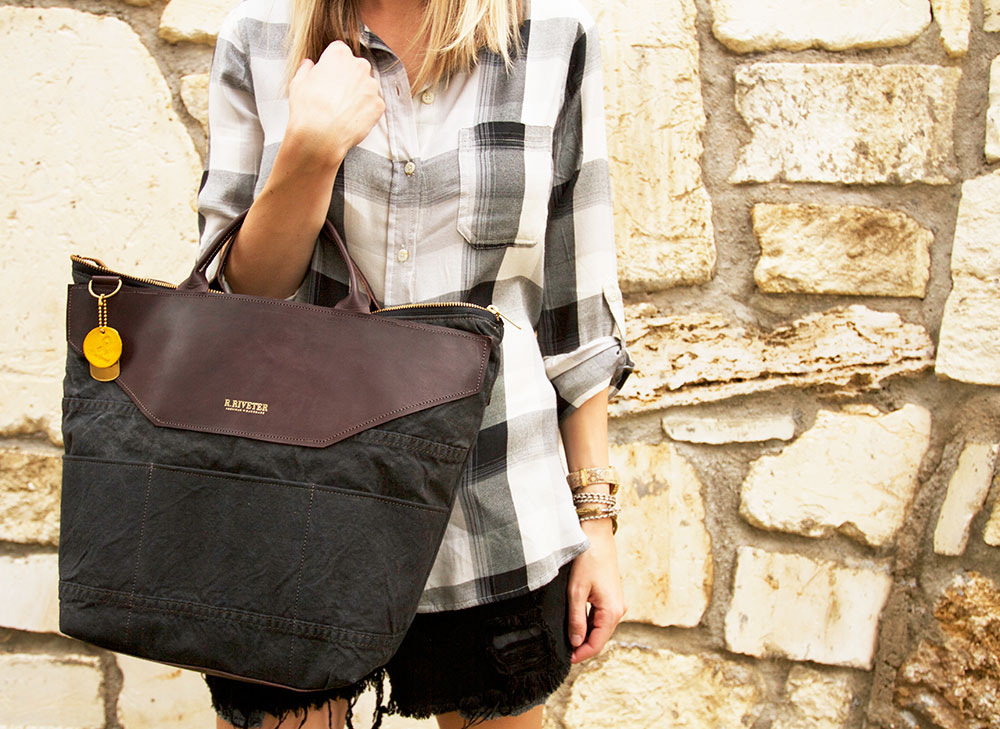 big plaid & an army bag