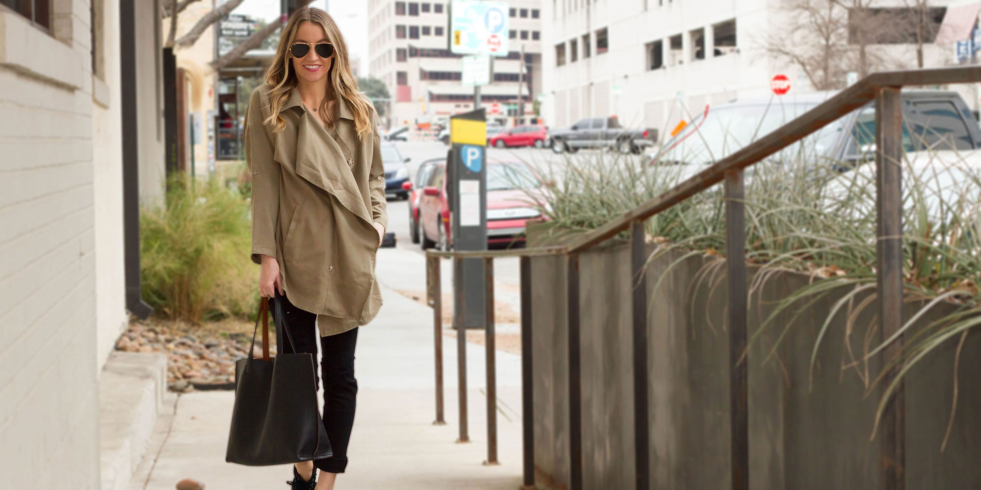 Trench Coat and Nikes
