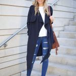 Draped Trench and Ripped Denim