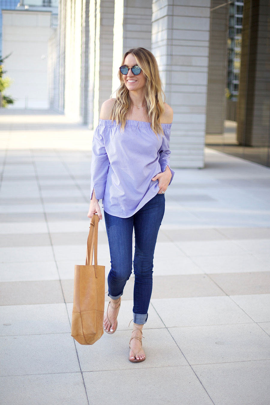 off the shoulder and comfy jeans
