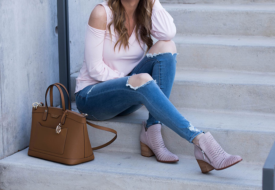 Distressed Denim Jeggings and Blush Pink Booties