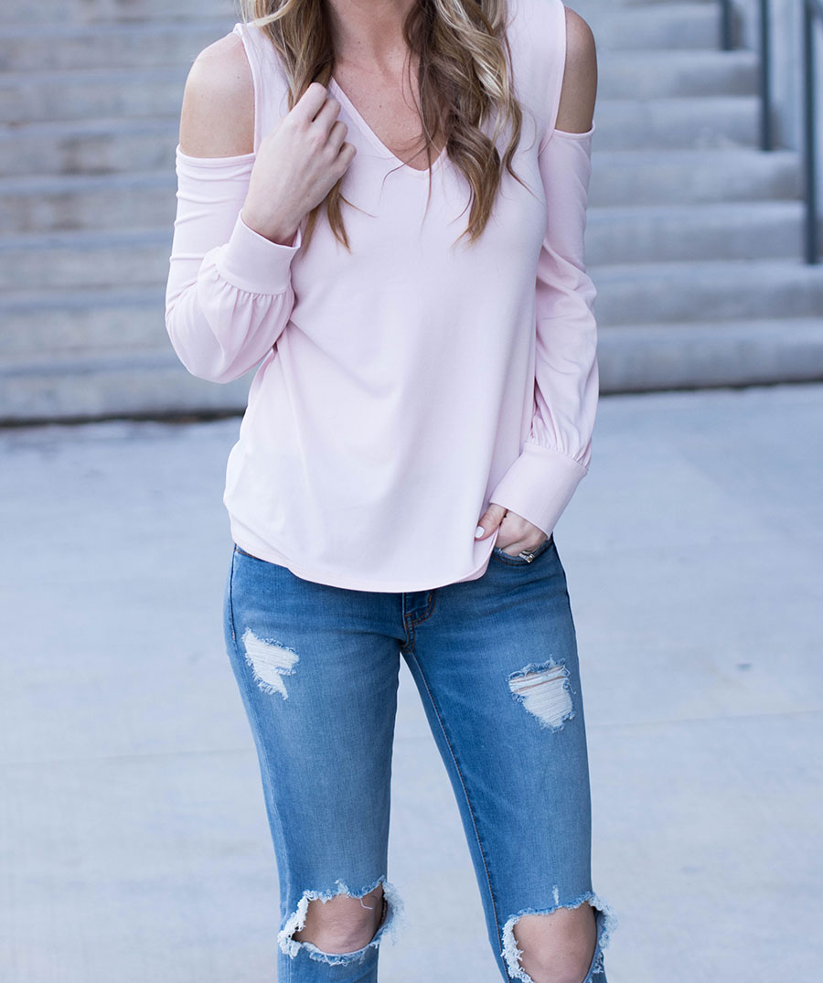 62002c64a18 Distressed Denim Jeggings and Blush Pink Booties- Life By Lee