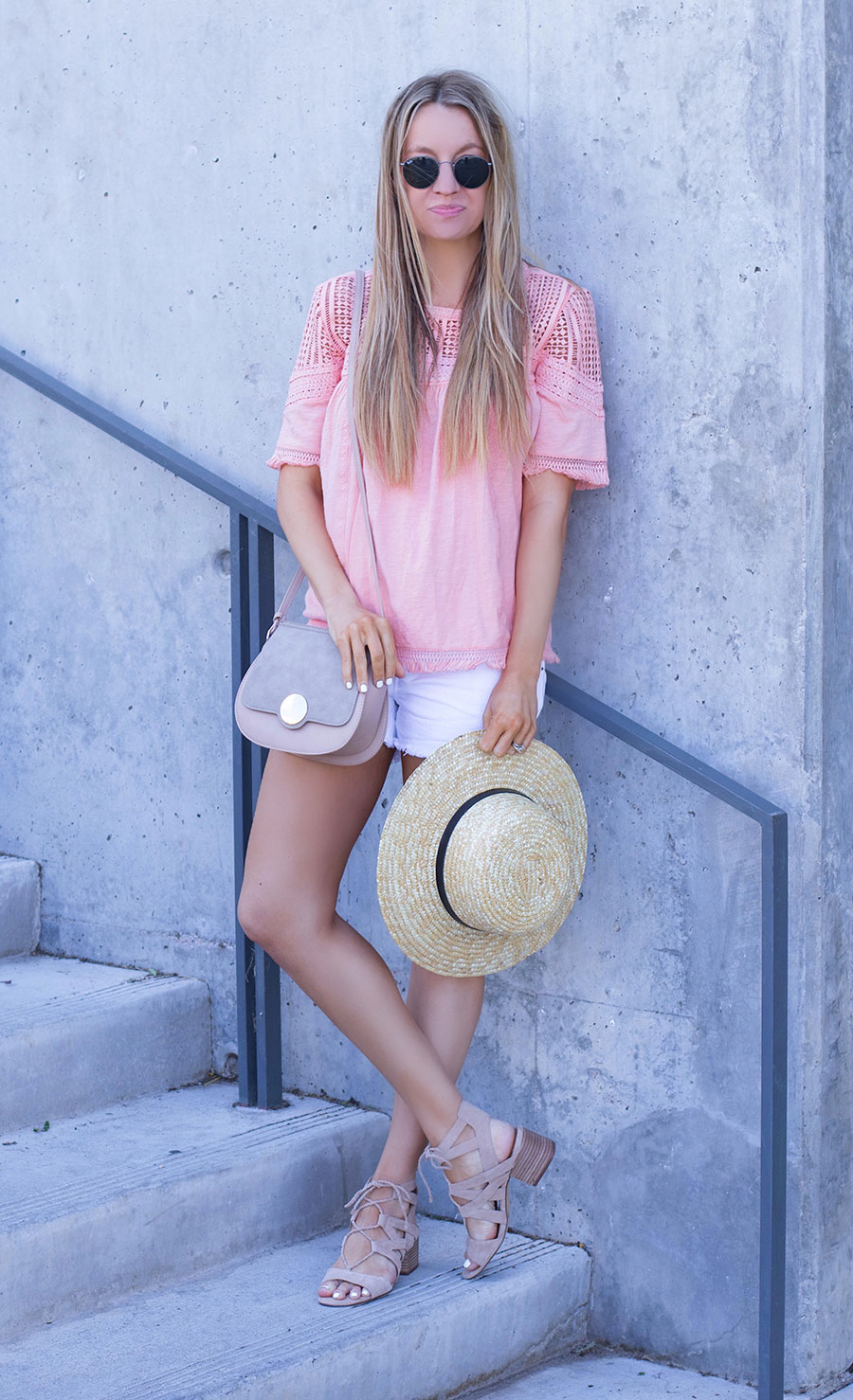 coral lace fringe top