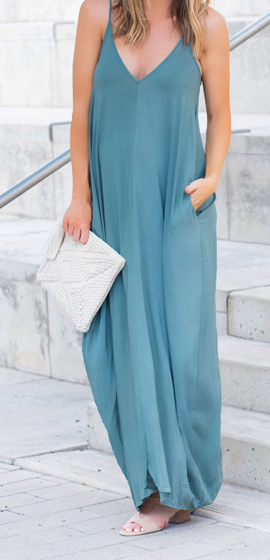 Nordstrom green maxi dress with pockets