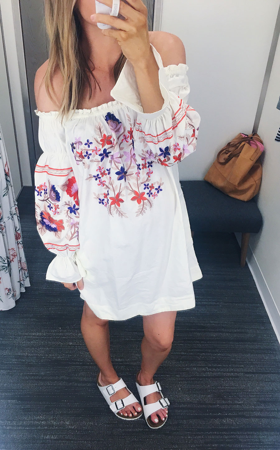 Free People Off The Shoulder Embroidered Dress