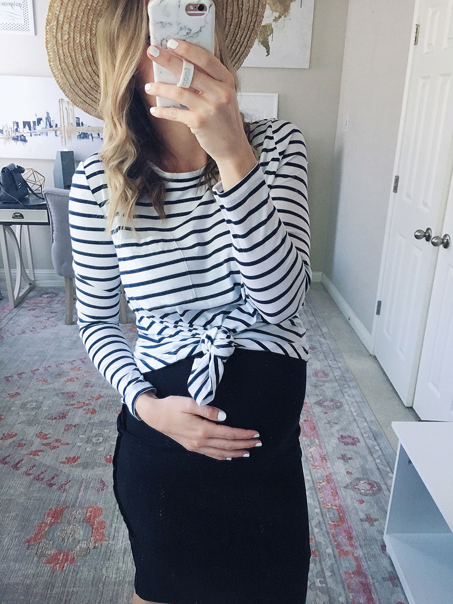 striped maternity top with a midi skirt