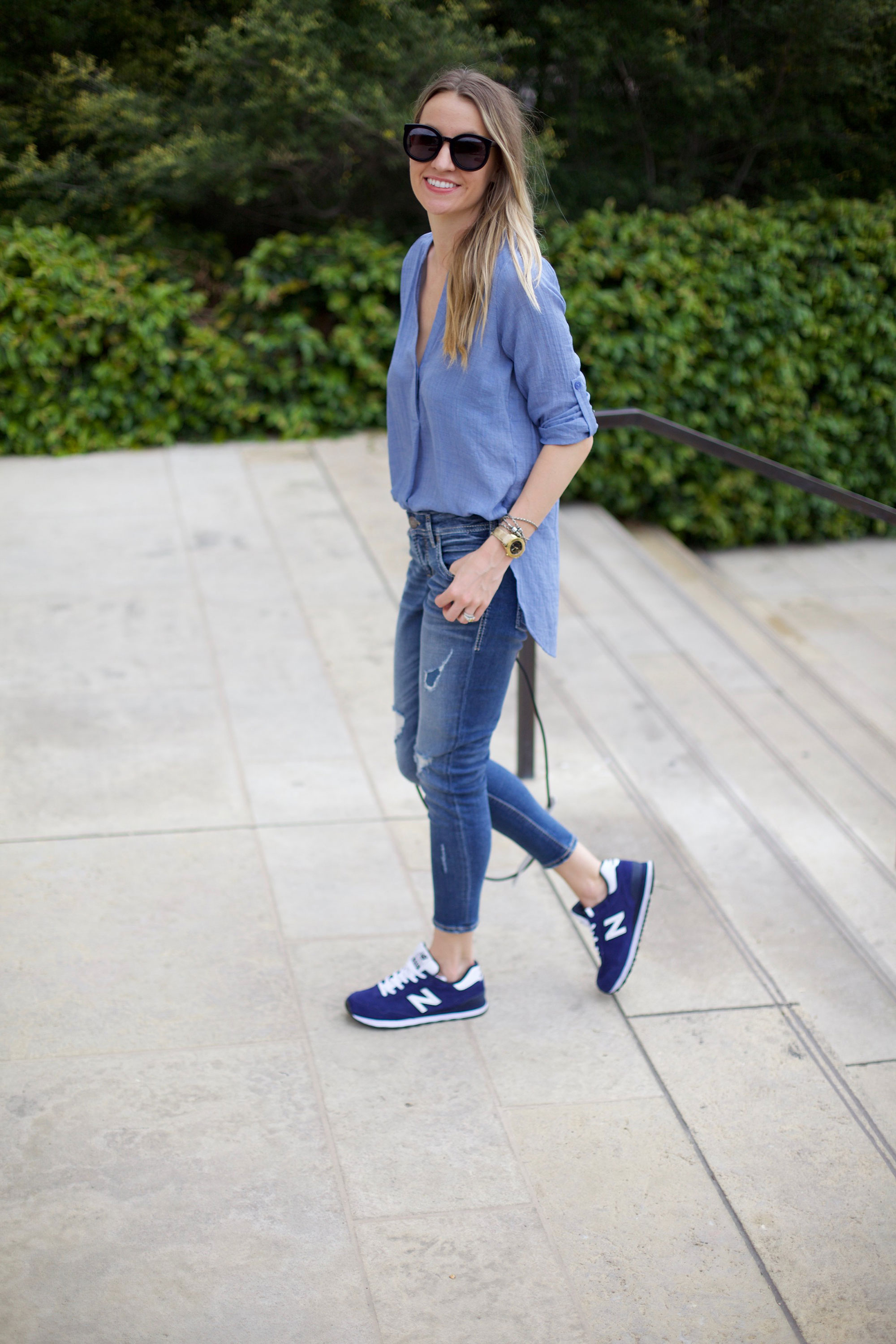 blue new balance outfit