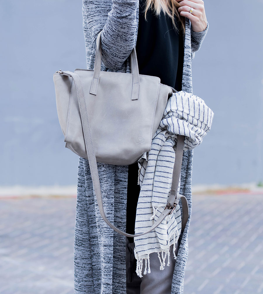 layered in gray