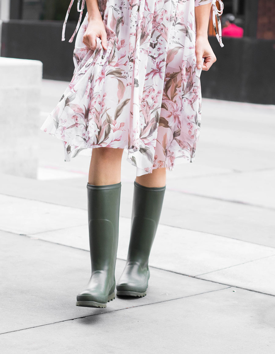 rain boots and dress
