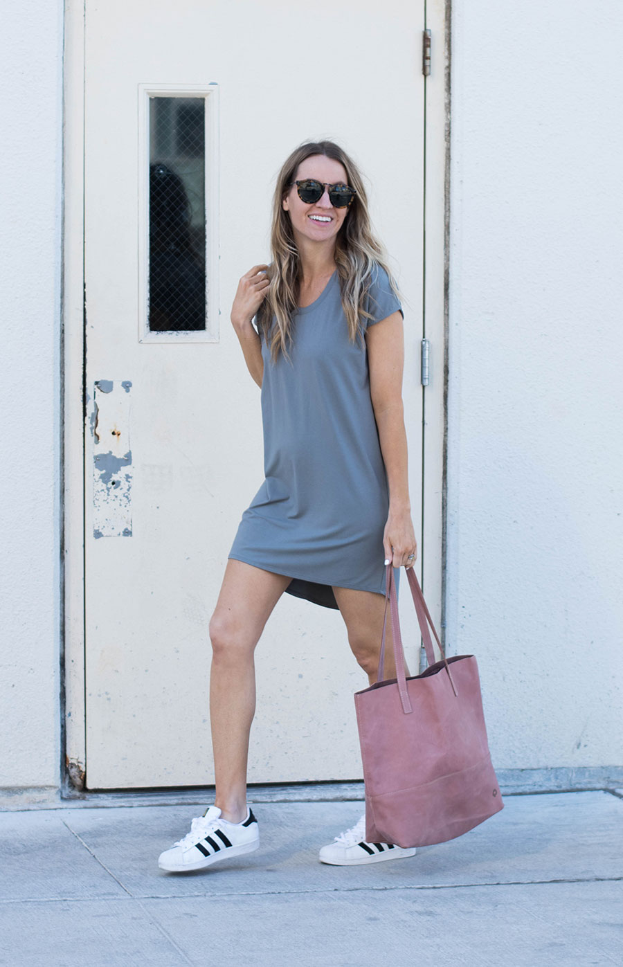 Gray T Shirt Dress - My Cozy Chic Spring Momiform by fashion blogger Life By Lee