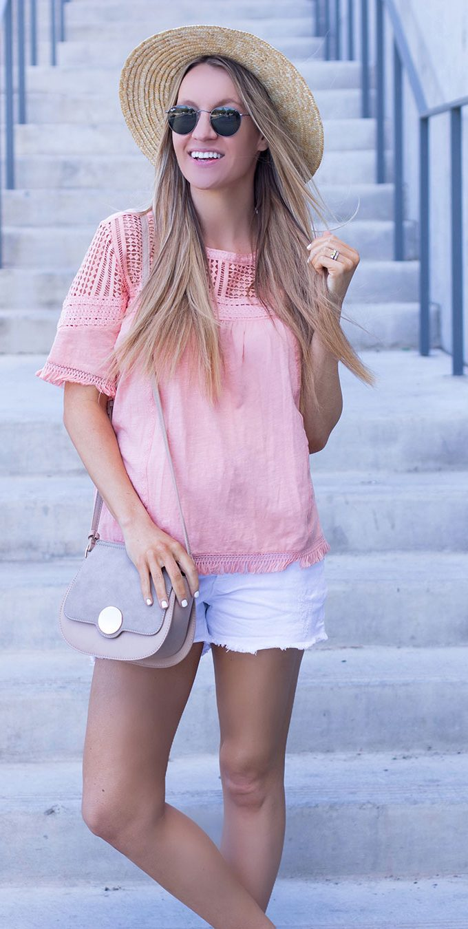 Coral Fringed Lace Tee and Denim Shorts