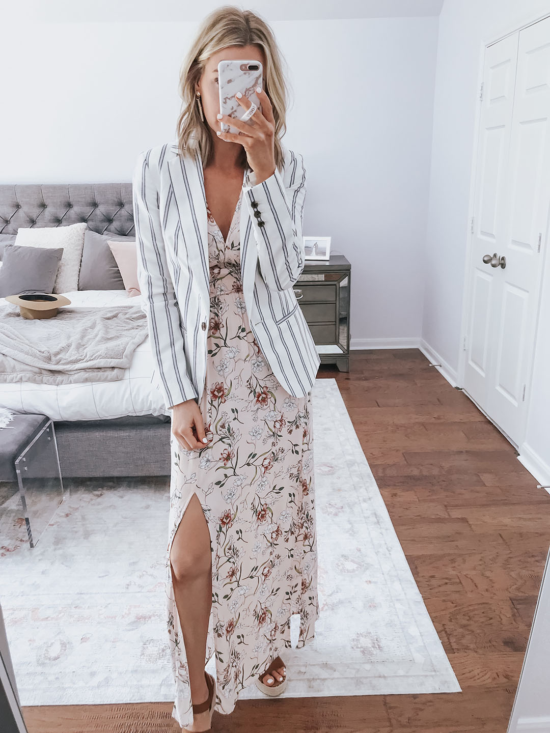 5343ede11b OUTFIT ABOVE: Floral Maxi Dress (fit TTS + on sale for $25) // Striped  Blazer (I sized down to a size 2) // Espadrille Wedges (fit TTS + so comfy)  // Wrap ...