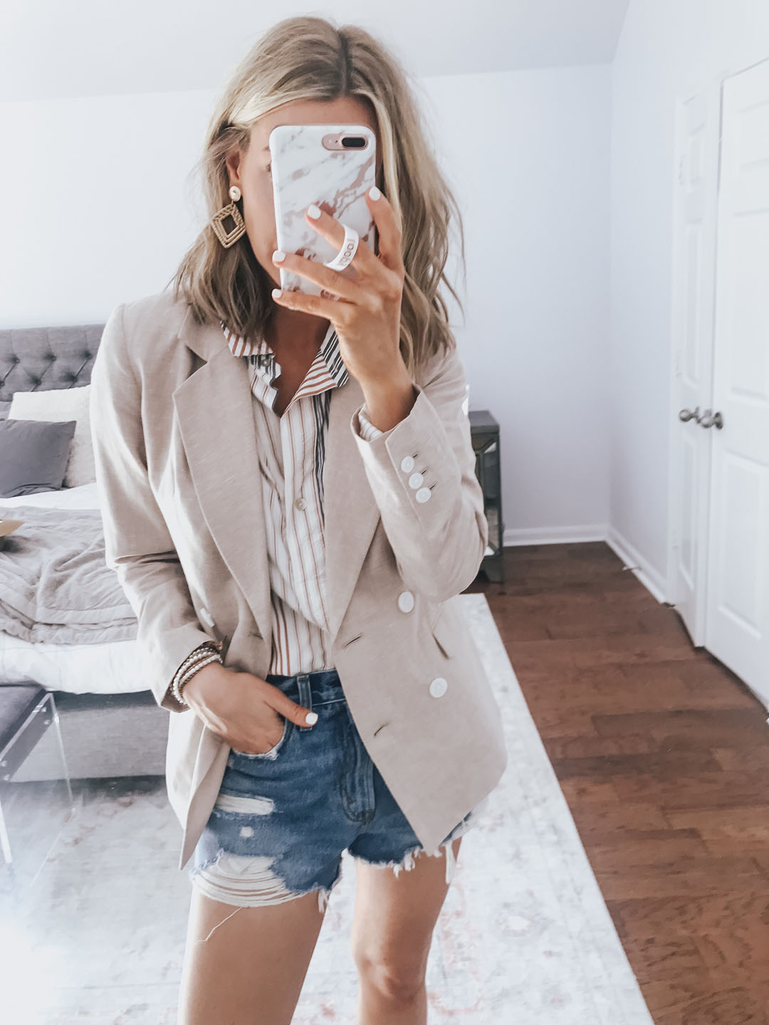 bc96a7e8dc8 OUTFIT ABOVE  Tan Linen Blazer (I sized down to a 2)    Stripe Collared  Blouse (fit TTS)    Fav Denim Shorts (size up to a 28 + on sale for  29!)