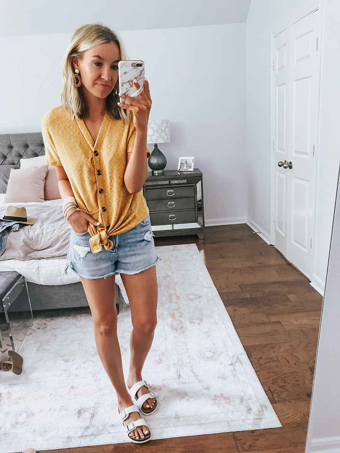 710918b4433 walmart try on OUTFIT ABOVE: Yellow Tie Front Top (wearing size small +  only $20) // Birkenstock Dupes (size down to the full size + only $10)