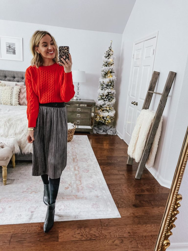 red sweater with skirt