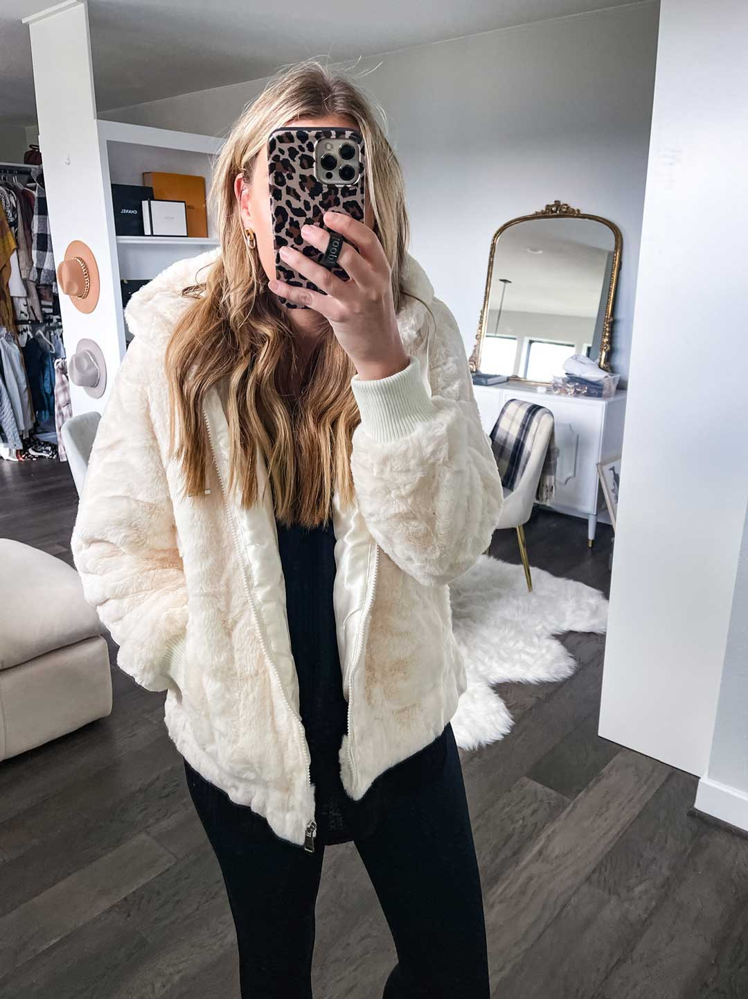 white sherpa coat